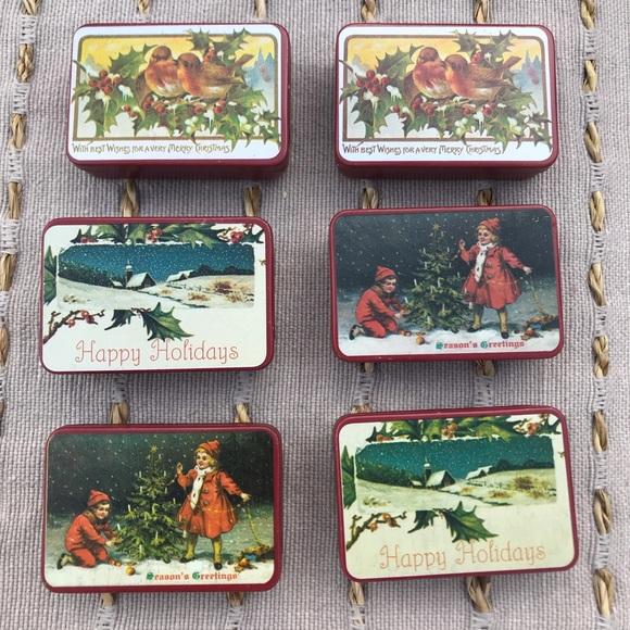 Christmas Tins.Vintage Mini Christmas Tins